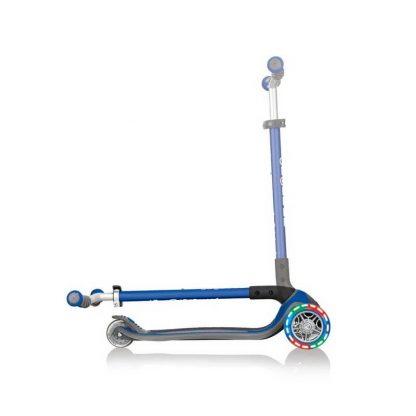 Трёхколёсный самокат со складной ручкой и светящимися колёсами Globber Master Lights Синий 662-100 - 3