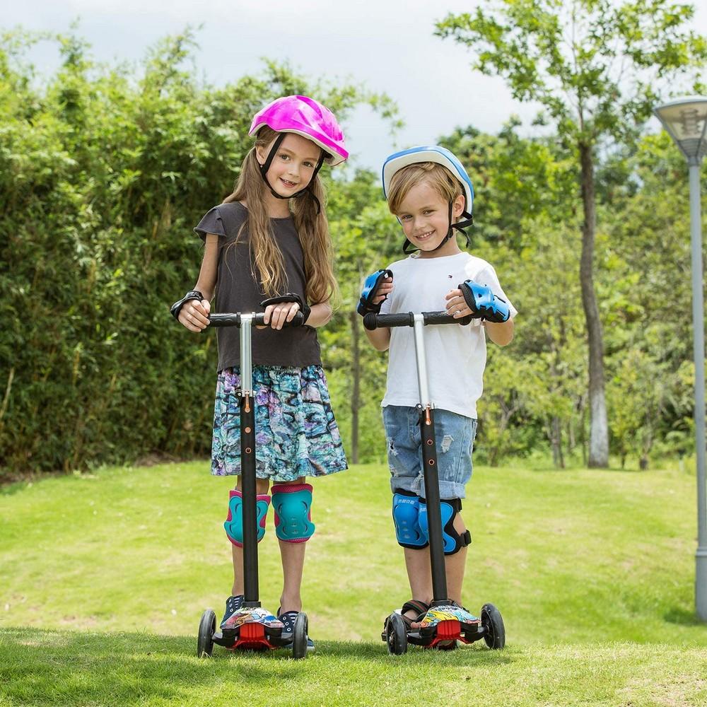 Трёхколёсный самокат со светящимися колёсами 21st Scooter Maxi Print - для мальчиков и девочек