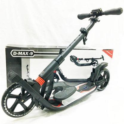 Городской самокат D-max 9 RW Sport Чёрно-красный с подставкой для ребёнка - 3