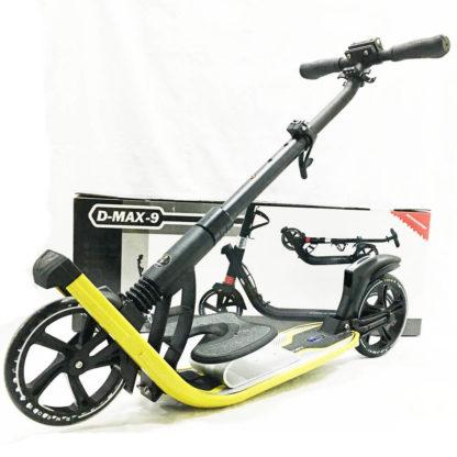 Городской самокат D-max 9 RW Sport Чёрно-жёлтый с подставк4й для ребёнка - 1