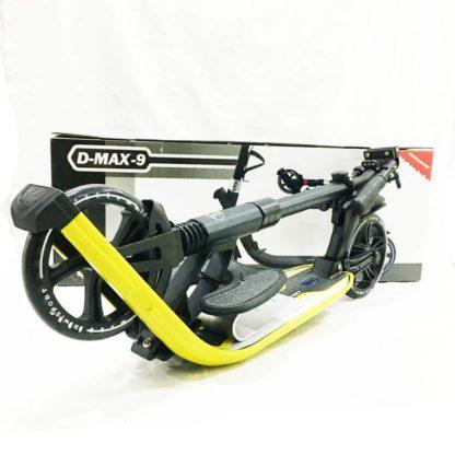 Городской самокат D-max 9 RW Sport Чёрно-жёлтый с подставкой для ребёнка - 5